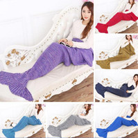 Wholesale 195 CM Large Size mermaid blanket Handmade Crochet Sea Maid Tail Blanket Colorful Kids Throw Super Soft