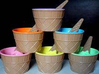 Wholesale Cute ice cream bowl ice cream cup children s plastic bowl ice cream bowl six colors cartoon style new environmentally friendly plastic