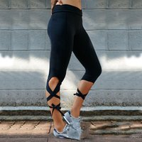 Wholesale 2017 summer Cross strap body pants fashion cool beach leggings Gym fitness clothing black and pink color