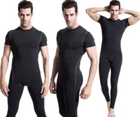 Wholesale 2016 Man s Exercise Clothes Short sleeved Sports And Fitness Running Clothes Quick drying Stretch Jersey Cycling Suit