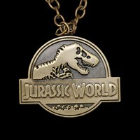 american parks - 2016Jurassic World Theme Park Logo dinosaur skeleton Pendant Necklace punk jewelry for men and women ZJ