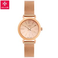 glass table clock - New Top brand Julius watch women luxury dress full steel watches fashion casual Ladies quartz watch Rose gold Female table clock