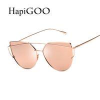 alloy beams - New Women Cat Eye Sunglasses Fashion Women Brand Designer Twin Beams Coating Mirror Sun glasses Female Sunglasses