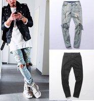 Wholesale Kanye West the same jeans Men Light blue black Designer Rock Star Destroyed Ripped Skinny Distressed Jeans