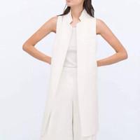 Wholesale Women white black long vest coat Europen style waistcoat sleeveless jacket back split outwear casual top Roupa Female MJ62
