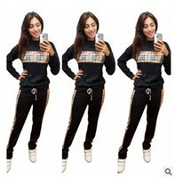 Wholesale Check sporty fashion European and American fashion printing casual and comfortable sports suits