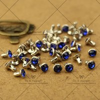 Wholesale Big Discount mm Crystal Royalblue Diamond Rivets Spike Nickel Punk Bag Belt Leathercraft Bracelets Clothes DIY Rivet