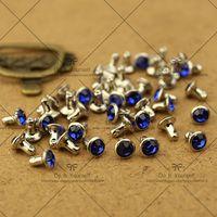 achat en gros de discounted diamond bracelets-Grande remise! 6mm Crystal Royalblue Diamond Rivets Spike Nickel Punk Bag Ceinture Leathercraft Bracelets Vêtements DIY Rivet Livraison gratuite