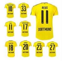 Wholesale Thailand Quality Dortmund Soccer Uniform Football Jerseys Embroidery Logo REUS Gotez Schurrle Aubameyang DEMBELE