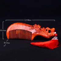 Wholesale Wild lobular red sandalwood wooden craft wood comb anti static comb special gift