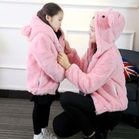 Women baby s loose jacket - New Parent Child Fall Winter Fake Fur Korean Version Bear Hooded Mother Son Fitted Cotton Plush Baby Loose Jacket Plus size New Women Jacket