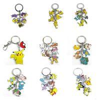 Wholesale Pocket Monster Go Pikachu key Chain Metal Figure Eevee Charizard Squirtl Venusaur Clefairy Psyduck Mew Wobbuffet XY Pendants Keychain
