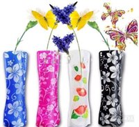 transporte livre 300pcs PVC Folding Vaso de flor PVC vaso dobrável Vaso de plástico decoração da casa ordem mista 27 centímetros * 12 centímetros
