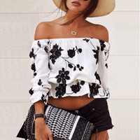 Wholesale 2016 tops for women Fashion Women summer casual Floral T shirt sexy Off Shoulder strapless Crop Tops blouse ladies off shoulder tops