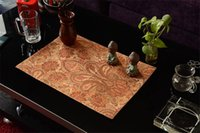 Wholesale Royal Jacquard Paisley Fabric Placemats One Piece Sale Luxury Red PlaceMat Heat Insulated Disc Pads For Dining Room