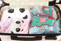 Wholesale DHL Ship Cute Cartoon Travel Drawstring Bag Fashion Animal Dots Storage Bags Waterproof Clothing Sorting Organizer Travelling Bags