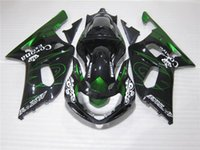 Wholesale 3Gifts New ABS Plastic motorcycle Fairing Kits for SUZUKI GSXR600 GSXR750 K1 Bodywork set green black corona
