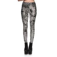Wholesale New Arrival Women s Digital Printing Gray Leaf Pattern Leggings Pants Woman Plus Size Fashion Slim Elastic Pencil Trousers S XL