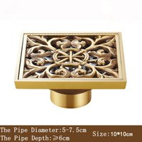 Wholesale 10 cm New Arrival Antique Bronze finish Fashion design Euro Square floor drain shower drain bathroom furniture T Style Art Carved Brass