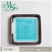 Wholesale Pretty kitchen utensils inch blue Aegean Sea style square plate