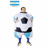 argentina dress - Argentina Inflatable Football Soccer Costume South America Football Player Outfit Party Club Fancy Dress Blow Up Carnival Suits mascot