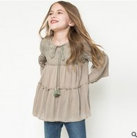 Cheap Autumn 2016 New Big Girls Dresses Tassel Princess Dress Fall Lace National style Ruffle Children Dress flare Sleeve Kids Tops Blouse 6971