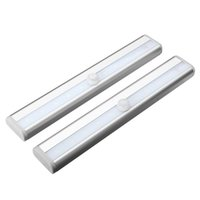 Placards blancs France-Zeroedge Stick-sur Partout Portable 10 LED de mouvement sans fil Sensing Closet Cabinet LED Night Escaliers / Step Light Bar (Batterie O Blanc