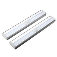 Zeroedge Stick-sur Partout Portable 10 LED de mouvement sans fil Sensing Closet Cabinet LED Night Escaliers / Step Light Bar (Batterie O Blanc