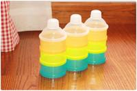 Compra Funda de almohada romántico-Color sólido infantil portable de alimentación del bebé de la leche en polvo Alimentos Leche Caja de almacenamiento de alimentos Botella contenedor 3 celdas de la rejilla caja WA0179