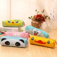 Wholesale Creative Kawaii Bear Panda PU Pencil Case Cute Cartoon Doraemon Pencil Box For Kids Korean Stationery