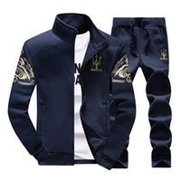 Wholesale Spring Sportswear men s jacket and pants suit fashion tracksuits men sports suits clothing set hoodies