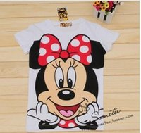 Wholesale New style cartoon whire minnie cut smill women s t shirt short sleeve cotton summer lady t shirt