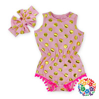baby playsuits - Europe Summer Babies Romper Clothes Baby Girls Dots Print Cotton Tassel Rompers Bow Headband Overalls Playsuits Princess Bodysuits
