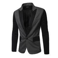 Wholesale 2016 Spring new fashion Panelled slim Men s suits A buckle Casual men s Blazers men s coats dark gray