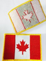 Wholesale 2 inch D Embroidered Pacthes with magic tape Canada Flag Outdoor Army Armband patch Sew On Patch spersonality