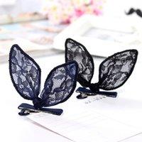 Wholesale New Hot Sale Fashion Charming Korean Delicate Lace Rabbit Ears Hair Clips Hairpins Girls Hair Accessories for Women Headwear