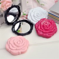 Wholesale 10pcs Retro roses Fashion Good Quality Foldable Portable Cosmetic Compact Mirror Women Pocket Mirror Chic Retro Makeup Mirrors