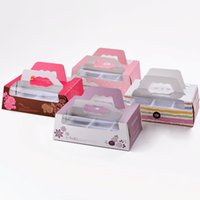 Wholesale 100 X Cavity Ice Snowy Mooncake Box with Window Handle Egg Tart Baking Cookie Boxes