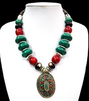 african wood carvings - 18 Ethnic Green Howlite Turquoise Necklace Pendant Tibet Silver Carved Bead