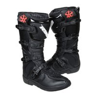 Wholesale Men s Motorcycle Shoes Riding Leather Motocross Racing Long Boots Off Road Riding Motorbike Moto Shoes Professional botas Black