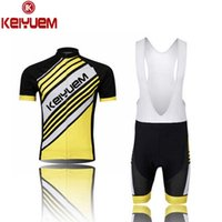 bib twill shorts - Fashion keiyuem Mens Twill Yellow Cycling Clothing Bike Bicycle short sleeve cycling jersey Bib Shorts Set