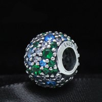Wholesale New Fit Pandora charm Bracelets Necklaces Pendants authentic ALE Sterling Silver Pave mosaic mixed crystal green charms Beads or women