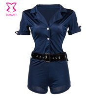adult rompers - Blue Plus Size Police Costume Cosplay Sexy Adult Women Rompers And Jumpsuits Halloween Policewoman Costumes Cop Outfit Uniform
