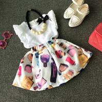 Cheap 2016 Summer Toddler Kids 2-7T Girls Outfits Clothes Sleeveless T-shirt + Perfume Print Skirt Dress Cool 2PCS Set K7185