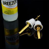 Wholesale Gold Color Stainless Steel Liquor Spirit Pourer Free Flow Wine Bottle Pour Spout Pourer Stopper Bar Supplies