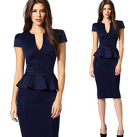 Wholesale 2016 new European and American professional women s V neck short sleeved Slim package hip stretch pencil dress flouncing
