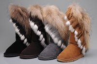big red fox - Fashion edging real big rabbit fox fur girls genuine leather snow boots for women winter boots tassels flats shoes high quality