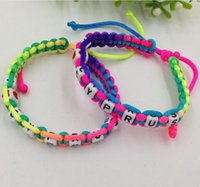 Wholesale Hot Creative Unique Bracelet Colorful Cotton Rope Hand Made Bracelet Acrylic letter Interval Hand Strap