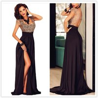 beaded cross stitch - Europe and America sexy lace stitching back hollow round neck short sleeve dress slit Slim DFMD374 summer Cocktail Dresses for wowen