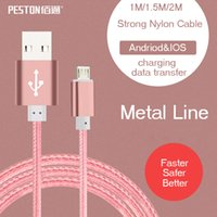 Wholesale PESTON Nylon USB Type C Charging hig hquality Cables For andriod Samsung HTC Apple s6s ios with retail box
